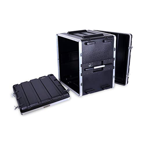 "Crossrock Stackable 12U Rack Case, Strong Molded with Heavy Duty Hardware, Standard 19.25"" Depth(CRA86012U)"
