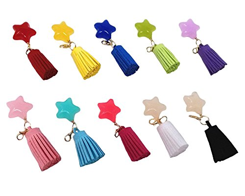 lor Star Faux Suede Tassels Pendants with Gold Lobster Clasp for Key Chain DIY Craft Accessories (Star Keychain)
