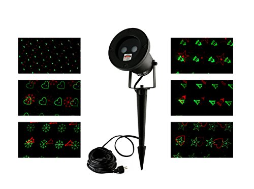 [Green and Red Garden Outdoor Decoration Star Projector Laser Lights for Holiday Lighting with 6 Patterns LED spotlight and Wireless Remote Control for Home Yard Pool Trees] (Ups Package Costume)