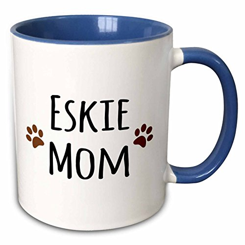 tore Pet designs - Eskie Mom - American Eskimo Dog breed pet owner - brown paw prints - doggie daddy doggy love- lovers - 15oz Two-Tone Blue Mug (mug_154116_11) ()