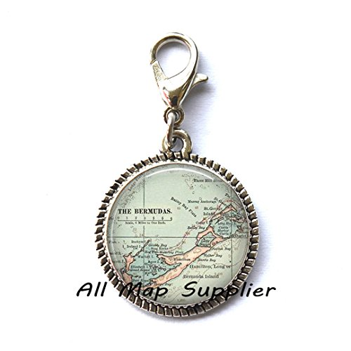 Beautiful Zipper Pull Bermuda map Zipper Pull, Bermuda map Charming Zipper Pull, Bermuda Zipper Pull, Bermuda Charming Zipper Pull, traveler's gift,A0024