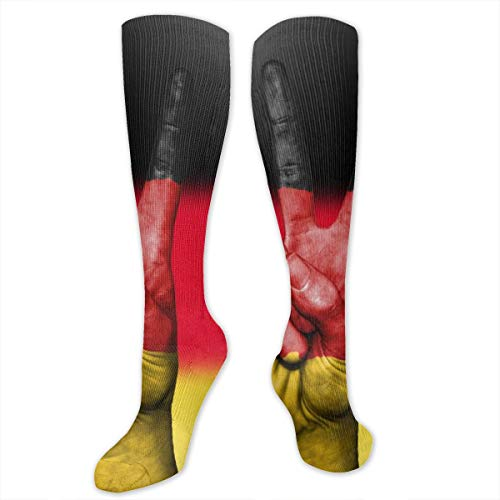 SARA NELL Knee High Socks German Flag Victory Hand Gesture Compression Socks Sports Athletic Socks Tube Stockings Long Socks Funny Personalized Gift Socks for Men Women