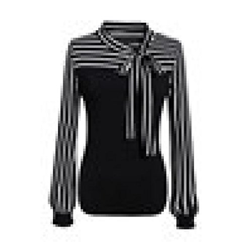 - FEITONG Women Tie-Bow Neck Striped Long Sleeve Splicing T-Shirt Blouse(XX-Large,Black)