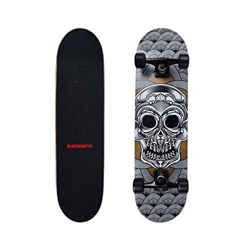 BLUESCRATTE 31'' Complete Skateboard for Beginners and Professional Double Kick Cruiser Board by BLUESCRATTE