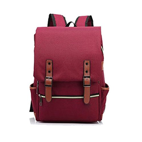 Vintage Women Canvas Backpacks For Teenage Girls School Bags Large Fashion Men Backpack Burgundy 15 inch laptop bag by STUDENTE