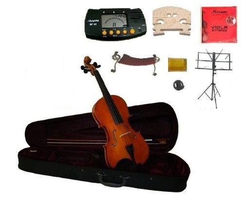 Merano 11'' Student Viola with Case and Bow+Extra Set of Strings, Extra Bridge, Shoulder Rest, Rosin, Metro Tuner, Black Music Stand, Mute by Merano
