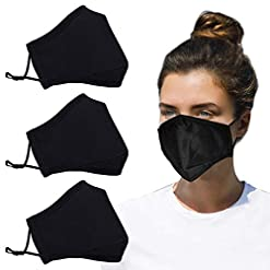 JunYi 3 PCS An-ti Dust Mask Cotton Unisex Reusable Safety Masks black face mask against for Construction, Cleaning, Woodworking and More for Women Men