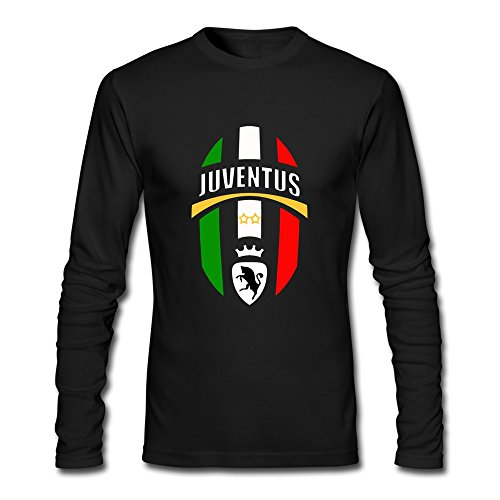 QMY Men's UEFA 2015 Juventus Football Club S.p.a Logo Long Sleeve T-shirts Size L