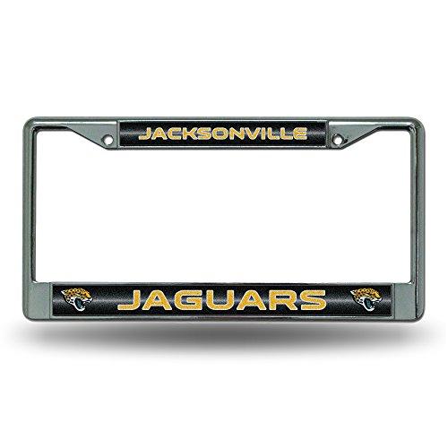 NFL Jacksonville Jaguars Bling Chrome License Plate Frame with Glitter Accent