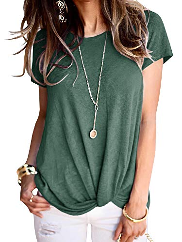 (Ofenbuy Womens Knot Front T Shirts Short Sleeve Crewneck Solid/Floral Print Casual Basic Tee Tunic Tops (Medium, Army Green))