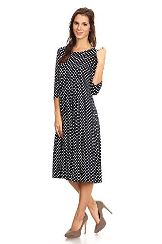 Casual Solid 3/4 Sleeve A-line Midi Dress/Made in USA (S-3XL) MPOLKA Navy XL