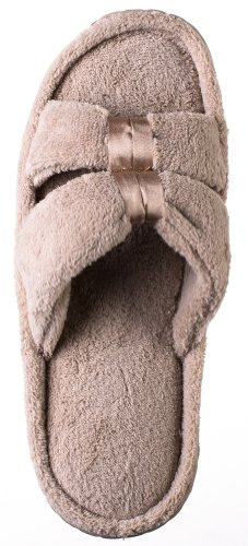 Beverly Rock Woman's New Satin Slide Slipper Beige  (Manufacturer size XL(10.5-11) US but fits like XL(9-10) US) (Brown Thong Slippers)