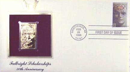 1995 22k Gold First Day of Issue Fulbright Scholarships 50th Anniversary