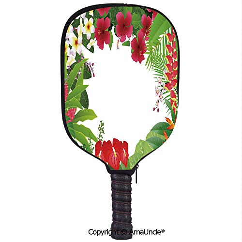 SCOXIXI 3D Pickleball Paddle Racket Cover Case,Hibiscus Plumeria Crepe Gingers Anthurium Leaves Frame Image Print DecorativeCustomized Racket Cover with Multi-Colored,Sports Accessories]()
