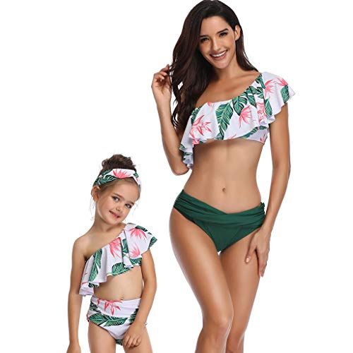 Floral Ruffled Chemise - Peacur Mother And Daughter Floral Printed Tankini Sexy One Shoulder Two Piece Swimsuits Swimwear Beachwear (M, Mother Green)