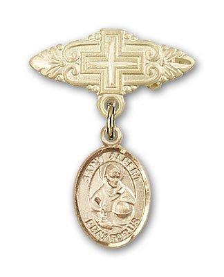 聖アルバート大聖母マリアのバッジと十字架付きバッジピン 宗教的オブセッション ゴールドフィルド   B00CDARB52