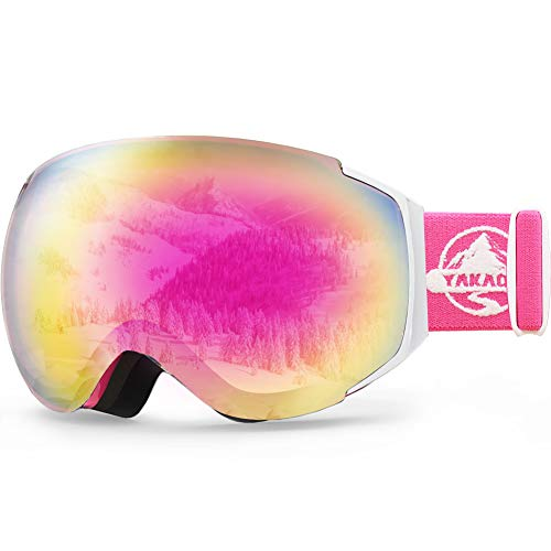 YAKAON OTG Ski Goggles UV Protection Snowboard Goggles Frameless Spherical Anti-Fog Lens for Men Women Youth (Snowboard Bag Pink)
