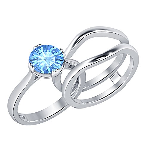Fabulous 1.97 ct.tw Round Cut Created Blue Topaz 14K White Gold Plated Solitaire Enhancer Wedding Set