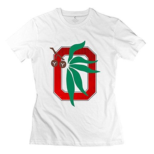 XY-TEE Women's Short Sleeve T-shirt Ohio State University Columbus Mascot Brutus White Size L