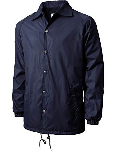 Hat and Beyond Mens Coaches Jackets Waterproof Windbreaker Coat Active Sportswear (Large, 1VW6001_Navy)