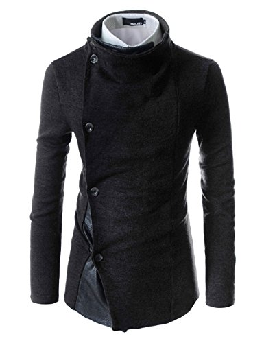 (GD93) Slim Stylish Unbalanced Metallic Leather Point Knitted Cardigan Sweaters Black US XL(Tag Size 2XL) ()