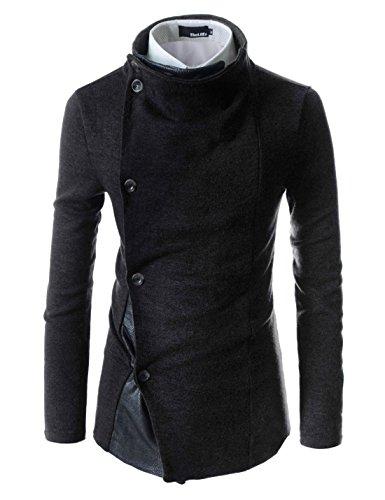 [해외]TheLees GD93 슬림 한 세련된 언밸런스 메탈릭 가죽 포인트 니트 카디건 스웨터/TheLees GD93 Slim Stylish Unbalanced Metallic Leather Point Knitted Cardigan Sweaters