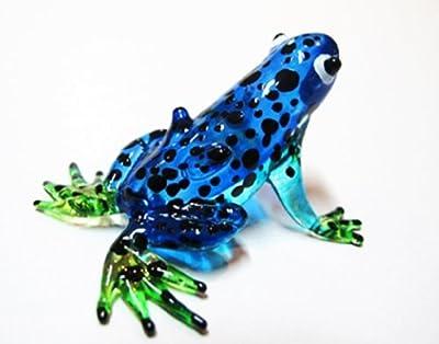 Lampwork COLLECTIBLE MINIATURE HAND BLOWN Art GLASS Blue Frog, Black dot FIGURINE