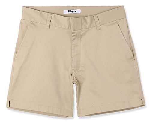 Khaki Walking Shorts - Estepoba Women's Juniors Premium Comfy Stretch Fitted Mid-Rise Chino Walk Short Light Khaki 26