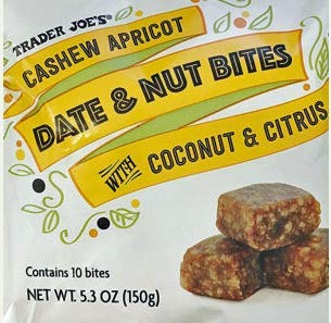 - Trader Joe's - Cashew Apricot Date & Nut Bites with Coconut & Citrus NET WT.5.3 OZ (150g) - 2-PACK