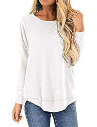 Fall Tops for Women Long Sleeve Side Split Casual Loose Tunic Top