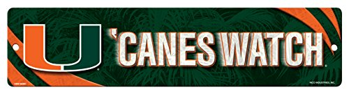 NCAA Miami Hurricanes 16-Inch Plastic Street Sign Décor (Sign Miami Hurricanes)