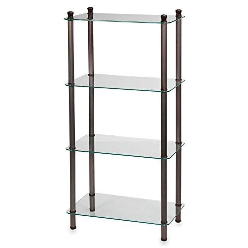 Bathroom Shelf in Oil Rubbed Bronze Steel / Tempered Glass 4-Shelf Wide Tower - 20'' L x 12'' W x 42'' W by L'Etagere