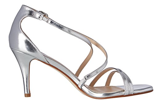 Ajvani Womens Ladies mid Low high Heel Strappy Crossover Party Wedding Prom Sandals Shoes Size Silver Metallic xm2NHkujvr