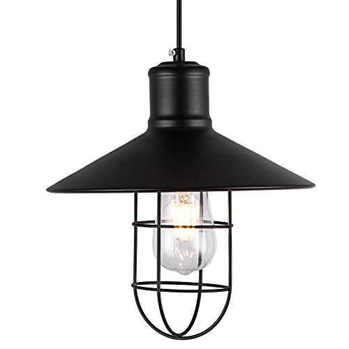 - SHENGYADI Industrial Wire Mini Pendant Light Metal Retro Cage Hanging Lamp 1-Light Black Farmhouse Accent Lighting Fixture for Kitchen Island Bedroom Loft Porch Bar Shop