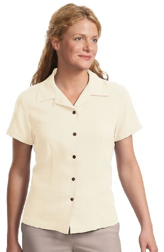 Port Authority Signature Ladies Silk Blend Camp Shirt in Ivory, X-Small