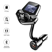 #LightningDeal AINOPE Bluetooth FM Transmitter for Car, Upgrade V4.2 Car Radio Bluetooth Adapter with QC3.0 & 2.4A Fast Charging, Hands-Free FM Transmitter Bluetooth for Large Screen Support TF/SD Card, U-Disk