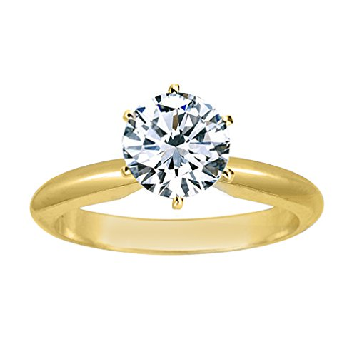 - Near 1/2 Carat Round Cut Diamond Solitaire Engagement Ring 14K Yellow Gold 6 Prong (J, I2, 0.45 c.t.w) Very Good Cut