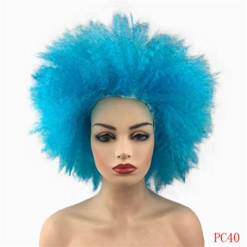 Afro Short Wigs Straight Costume Halloween Dress Up Party Synthetic Hair PC40 10inches]()