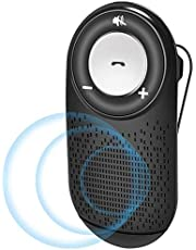Bluetooth Car Speaker AUTO Power ON, Aigital Wireless in Car Speakerphone for Hands-Free Talking, Music Streaming&GPS, Connects with Siri & Google Compatible with All Smartphones Connect Two Phones