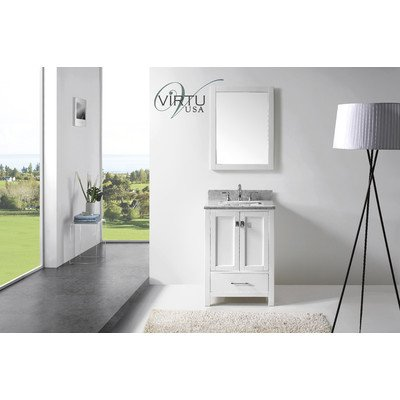 Virtu Usa Gs 50024 Wmsq Wh Transitional 24 Inch Single Sink Bathroom Vanity Set  White