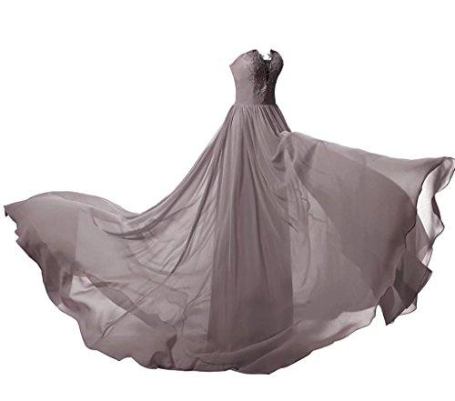 134 Abendkleider Abiball Ball Spitze Lange Abschlusskleider Chiffon Grau BrautjungfernKleider 0x4Fq7gn