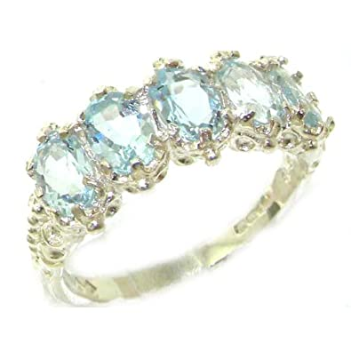 925 Sterling Silver Real Genuine Aquamarine Womens Eternity Ring