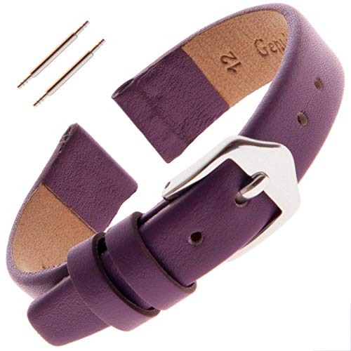 Gilden Ladies 10-14mm Classic Calfskin Fashion Color Flat Leather Watch Band F60-1812 (12 Millimeter end Width, Purple, Silver-Tone Buckle) ()