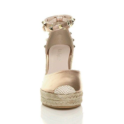 Dames La Cheville En Espadrilles Talon Sandales Bride Clouté Haute Travestissement Chaussures Rose Compensé À Taille Or Ajvani De SrxqSwft