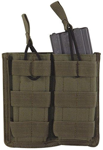 System M4 Double Mag Pouch - VooDoo Tactical 20-8585004000 M4/M16 Open Top Mag Pouch with Bungee System, OD, Double