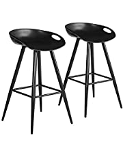 2Pcs/Set Pub Bar Stools, FurnitureR 27.6 Inch Low Back, Retro Design Metal Round Seat Stool, Indoor Outdoor Barstools for Kitchen and Dining Room,Easy to Assemble,Full Black