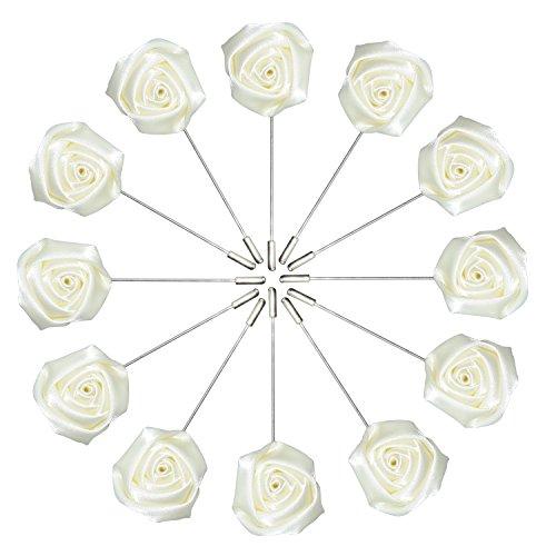 Argositment Wedding Small Rose Boutonniere for Men's Suit Handmade Lapel Pin Flower-Cream White(Pkg of 12) (Rose Pkg)