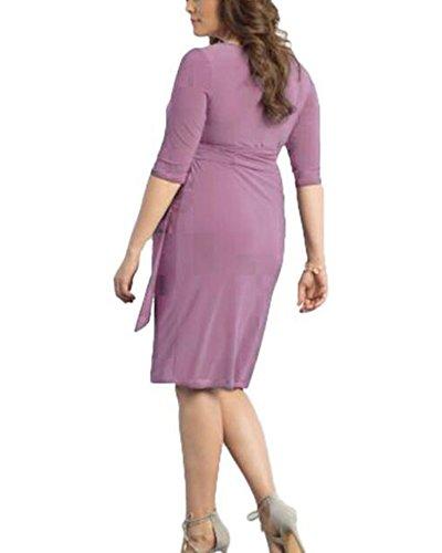 Kasen Sovrappeso Manica Donna Vestiti Abito Vestito Partito Corta Allentato Ballo Pink Estivi rr1Ax