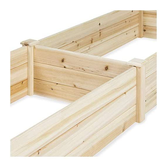 Best Choice Products Vegetable Raised Garden Bed Patio Backyard Grow Flowers Elevated Planter 4 8' x 2' garden bed is perfect for growing your plants and vegetables Comes with a divider in the middle so you can separate it into 2 garden bed boxes Boards are made of 0.5 inch thick solid wood that is built to last through the seasons
