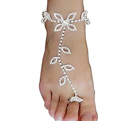 Top Gprince Women Lucky Clover Rhinestone Anklet Barefoot Sandals Beach Foot Chain Jewelry Accessory Circumference 8+4cm for sale